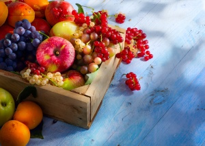 Art abstract market background fruits on a wooden background